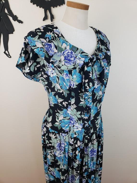 Vintage 1980's Laura Ashley Dress / 90s Rose Flor… - image 5