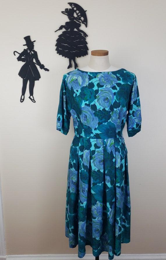 Vintage 1950's Blue Floral Dress / 50s Cotton Blue