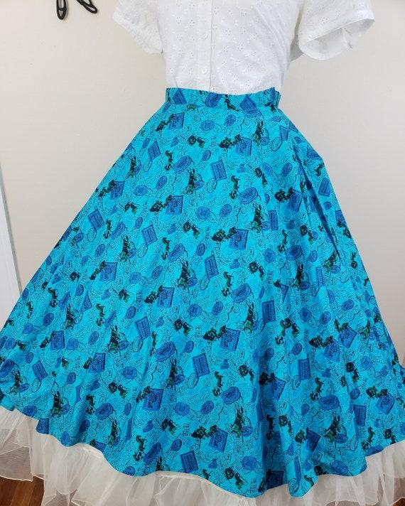 Vintage 1950's Circle Skirt / 50s Novelty Print S… - image 6