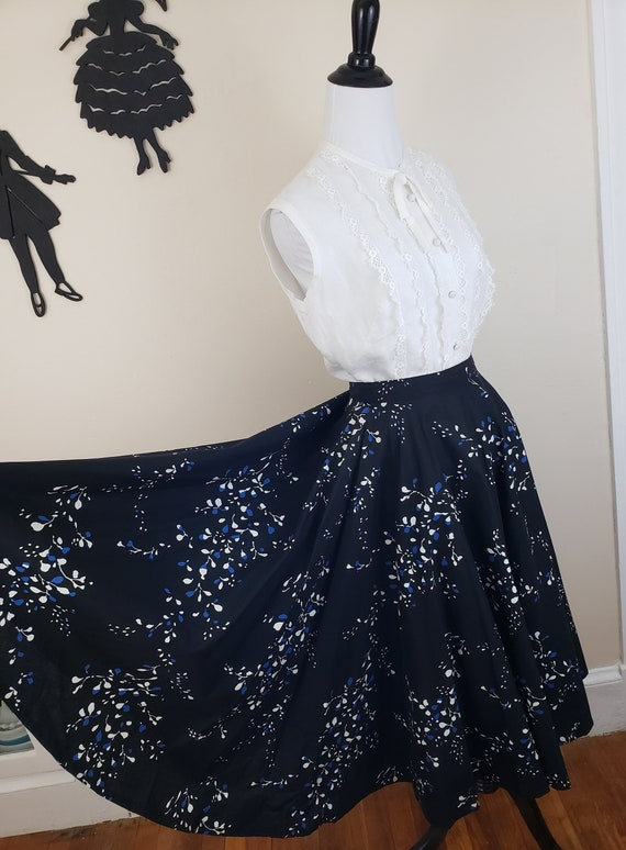 Vintage 1950's Blue Abstract Skirt/ 50s Full Circl