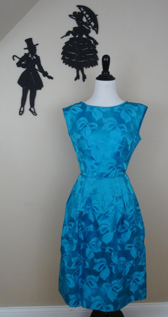 Vintage 1950's Bright Blue Cocktail Dress / 50s Em