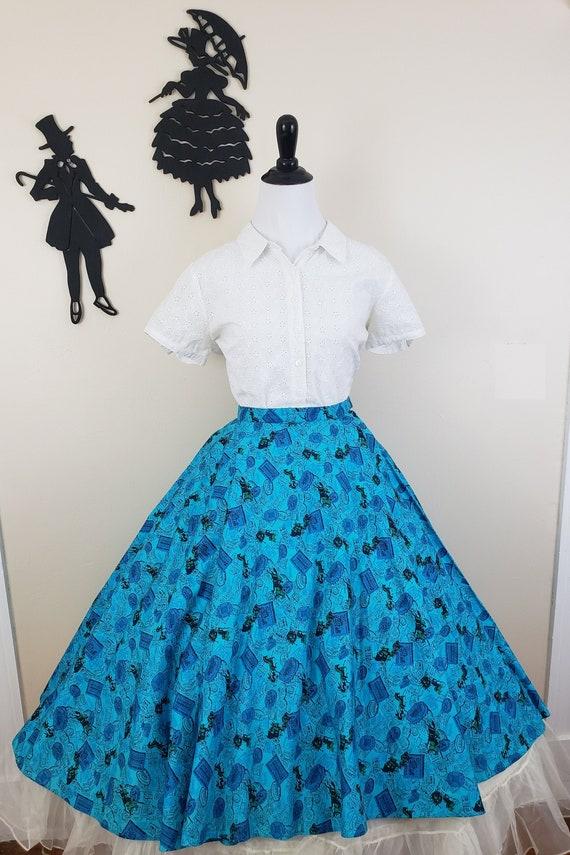 Vintage 1950's Circle Skirt / 50s Novelty Print S… - image 2