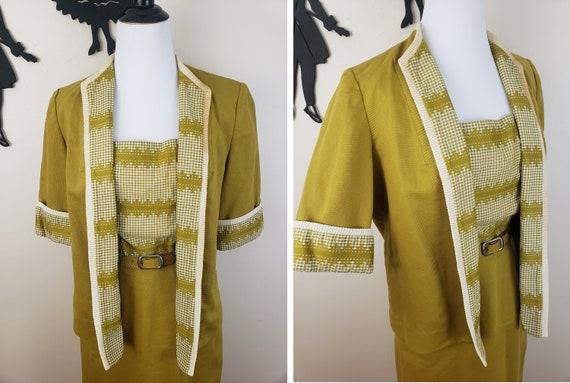 Vintage 1940's Mustard Day Dress / 40s Gingham 3 … - image 6