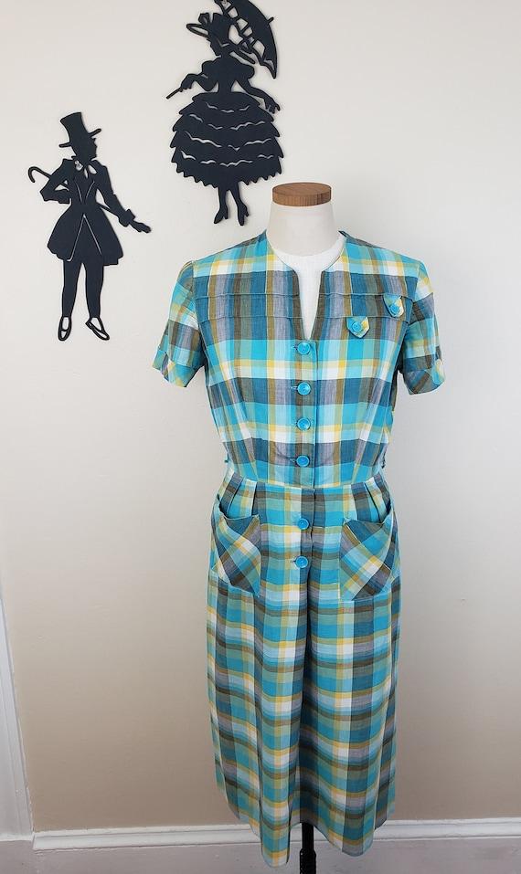 Vintage 1950's Plaid Dress / 60s Day Dress L