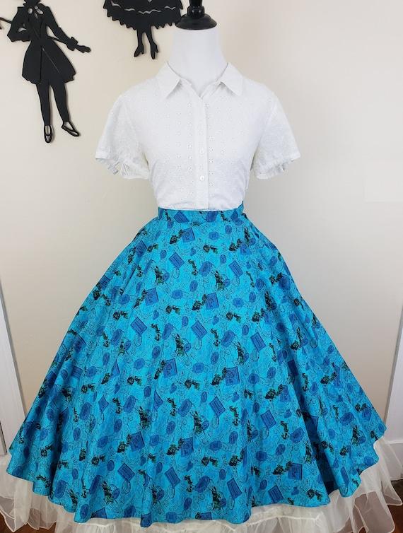 Vintage 1950's Circle Skirt / 50s Novelty Print S… - image 3