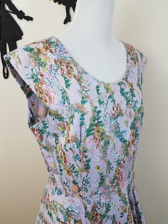 Vintage 1950's Cotton Dress / 50s Lavender Day Dre