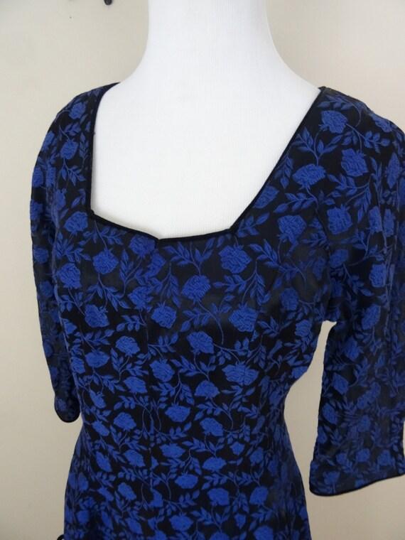 Vintage 1950's Blue Brocade Dress / 50s McKettrick