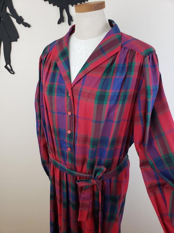 Vintage 1970's Shirt Waist Dress / 70s Red Plaid D