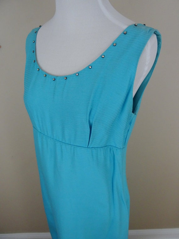Vintage 1960's Maxi Dress / 60s Bright Blue Day Dr