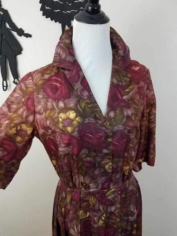 Vintage 1950's Floral Purple Dress / 50s Plum Day