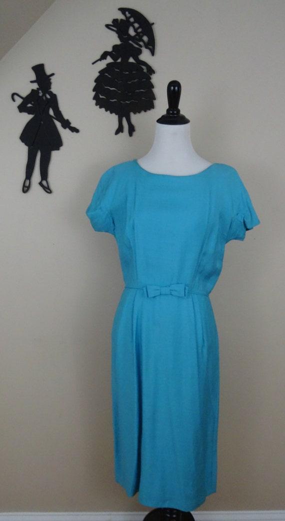 Vintage 1950's Day Dress / 50s Blue Bow Dress M