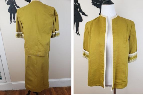 Vintage 1940's Mustard Day Dress / 40s Gingham 3 … - image 7