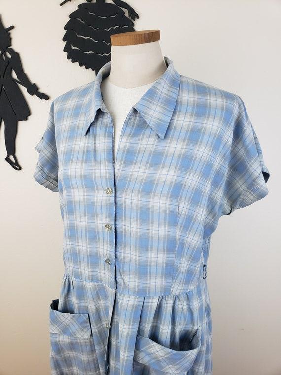 Vintage 1950's Plaid Shirtwaist Dress / 50s Plus S