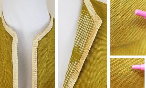 Vintage 1940's Mustard Day Dress / 40s Gingham 3 … - image 9