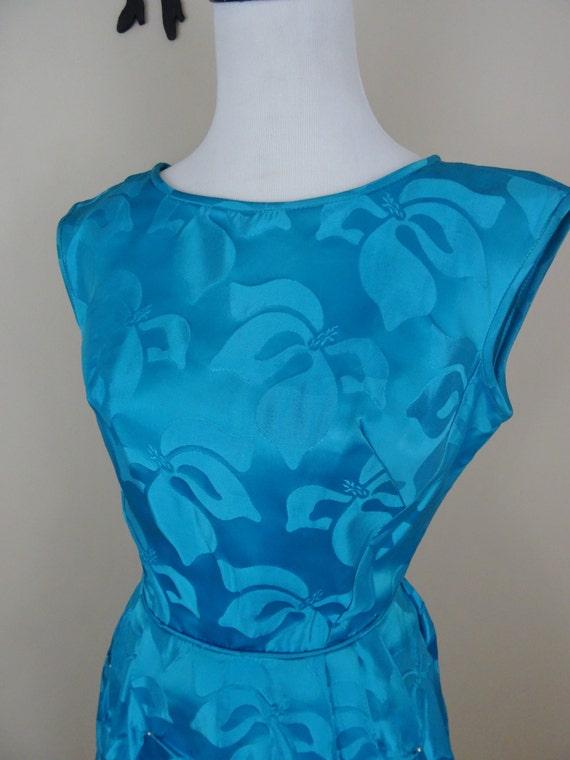 Vintage 1950's Bright Blue Cocktail Dress / 50s E… - image 2