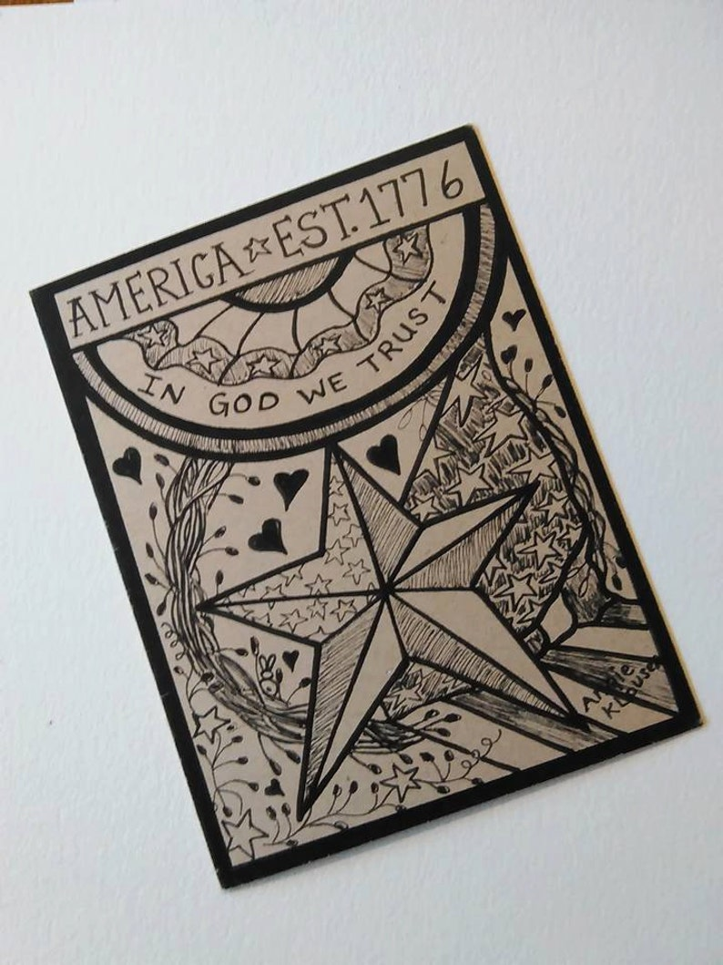 Military Thank You Gift Card Soldiers Card Flag Stationery Recycled Paper Supplies Veterans Cards Army Card Primitive Hand drawn Card