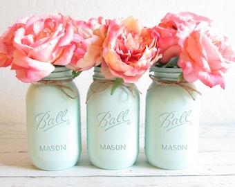 Painted Mason Jars - Mint Green Mason Jars - Shabby Chic Decor - Mint Vase - Mint Green Wedding Decor - Bridal Shower Centerpieces