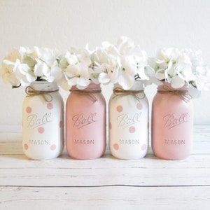 Painted Mason Jars White Pink Gray Mason Jar Set Mason Jar Etsy