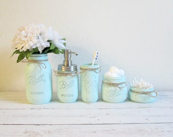 Mason Jar Bathroom Set   Shabby Cottage Chic Bathroom Set   Mint Green  Painted Mason Jars