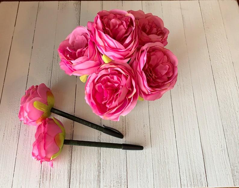 Flower Pen Peony Pen Bridal Shower Favors Wedding pen Wedding Favors for Guest Bright Pink Peony Flower Pen Guest Book Pen