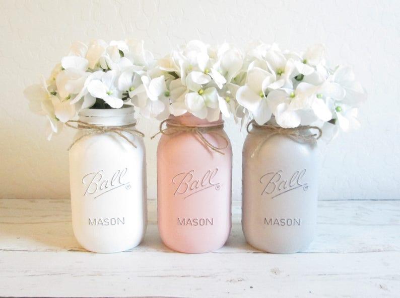 f25a1d008a2e Painted Mason Jars White Pink Gray Mason Jar Set Mason Jar