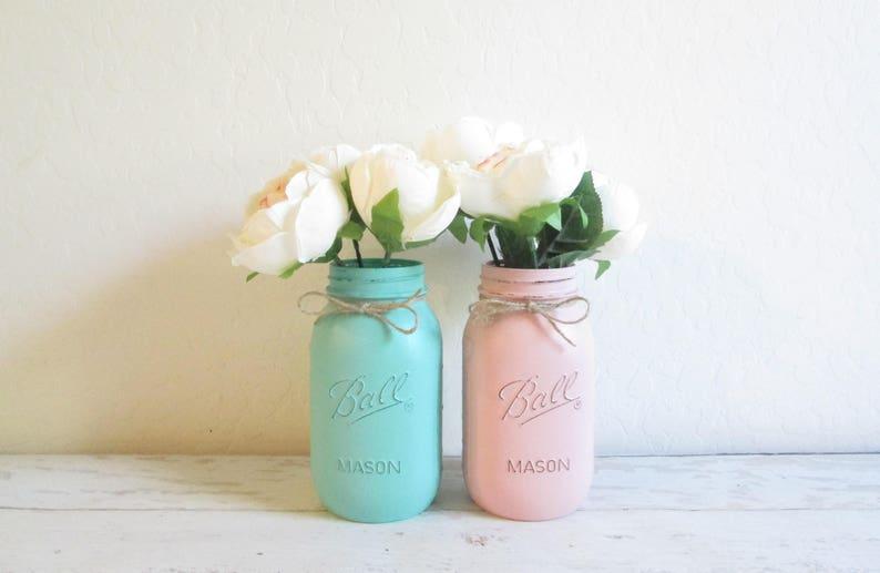 666dfd353038 Aqua and Pink Mason Jars Painted Mason Jars Party Decor