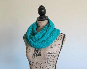 Crochet Infinity Scarf - Teal Infinity Scarf - Knit Scarf - Handmade Soft Scarf