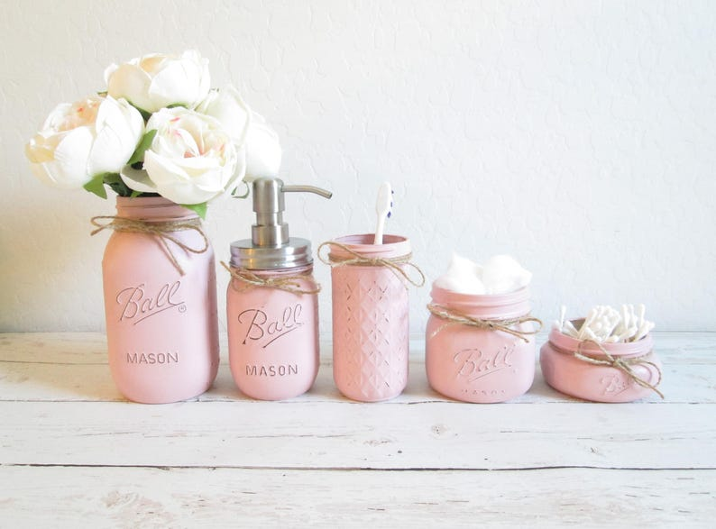 e16d1e7bb305 Mason Jar Bathroom Set Pink Bathroom Set Painted Mason