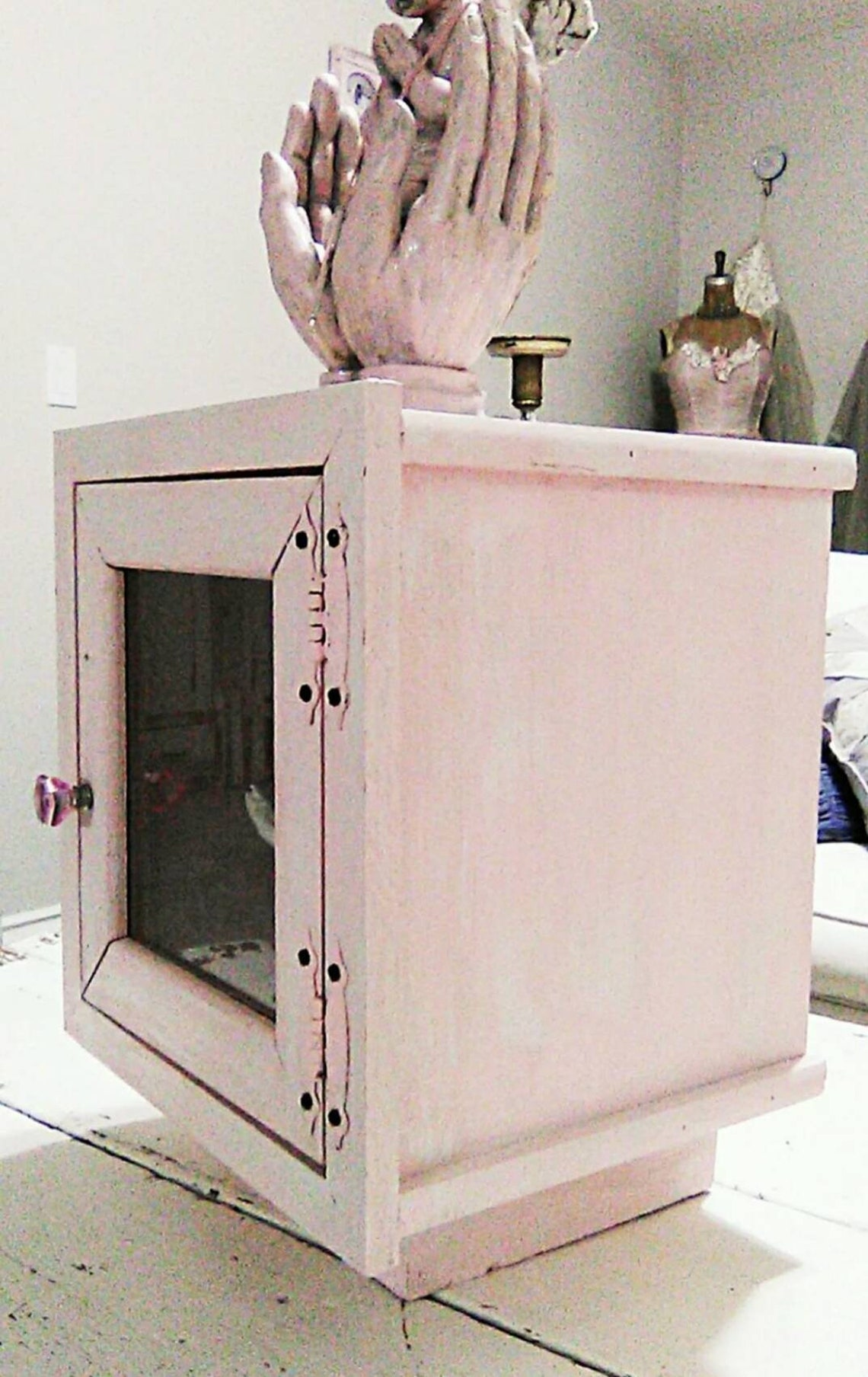 Adorable OOAK Handmade Shabby Chic Pink Painted Display Cabinet Shadowbox Petite Cupboard