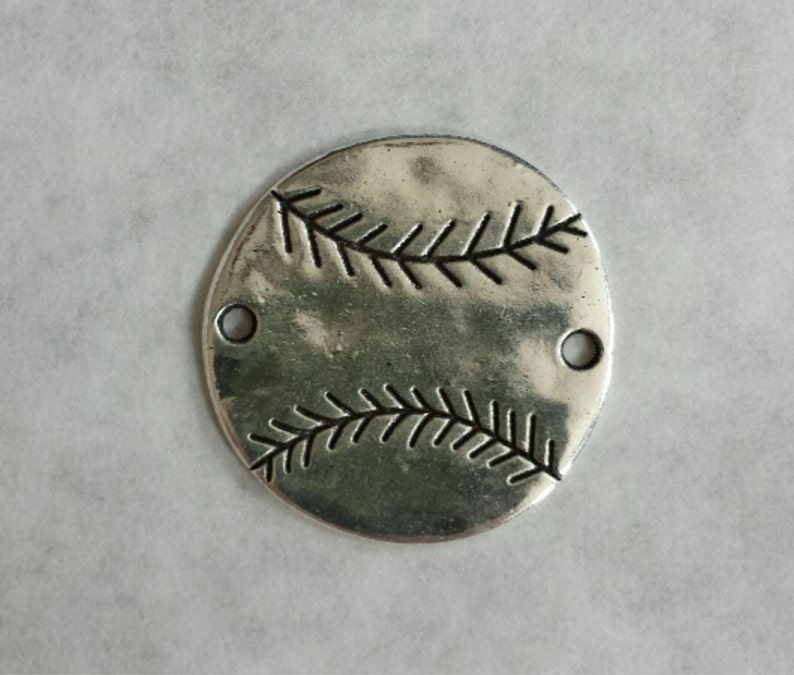 Wholesale Lot of 5 Baseball Connector Charm Large Silver Metal Sports DIY Bracelets Necklaces