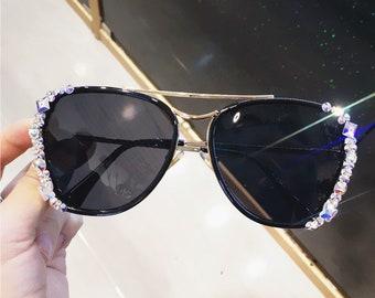 a15e12dca4 Swarovski element Sunglasses Black Sunglasses bling bling sparkly  Rhinestone instagram Fashion Sunglasses