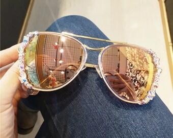 82a0655b5d Swarovski element Sunglasses Champagne Sunglasses bling bling sparkly  Rhinestone instagram Fashion Sunglasses