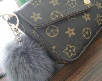 9cbd797c1658 cute fur ball bag charm puffs ball keychain custom real fox fuzzy keyring  grey pom poms handbag charm