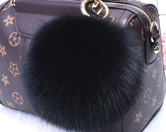 Tassel 3 Faux Fur Fuzzy Ball Pompom Key chain Bag Charm Key Ring Camel Burgundy