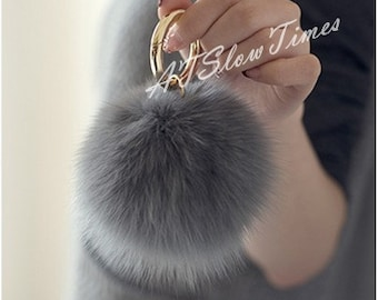 Real Fur Ball Bag charms Keychain Pom Pom Fluffy Ball Key chain Handmade fur  handbag Charms Multicolor for Customize Puff Fur Ball Keychains c77ac6320a19b