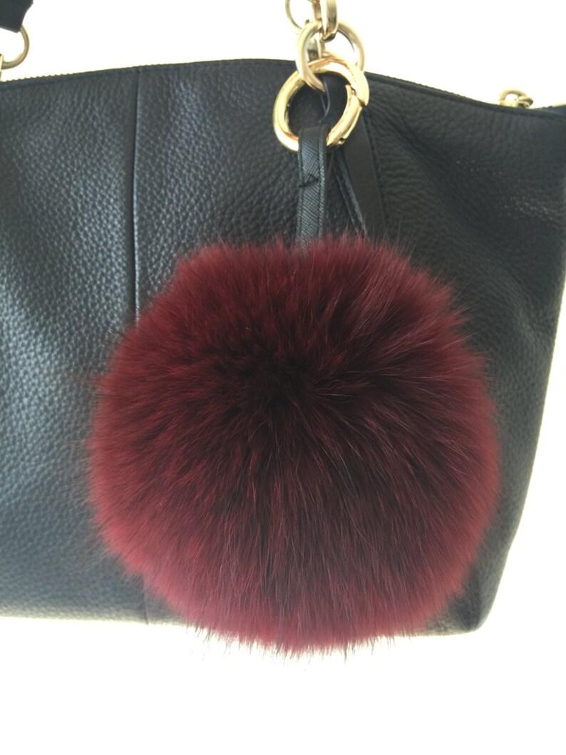 bbb76770ef Burgundy Fox Fur Pom Poms Handbag Charm Puffs Fluffy Keychains