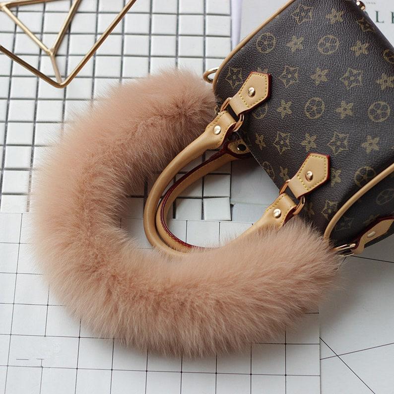 717347c8b810 Puffs Bag Straps Tan Pompoms Real Furry Handbag Straps Custom