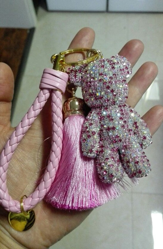 Cute Keychains light pink sparkly keyring Bear Bag Charm car  2ef6a1bb89