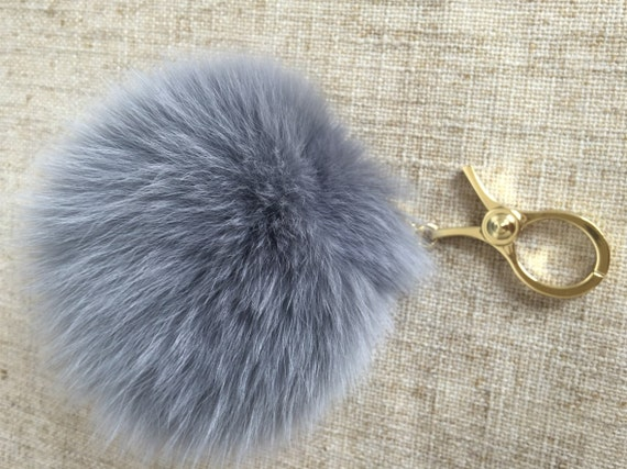 ca1f22053e83 fox fur ball keychains large pom poms gray real furry purse