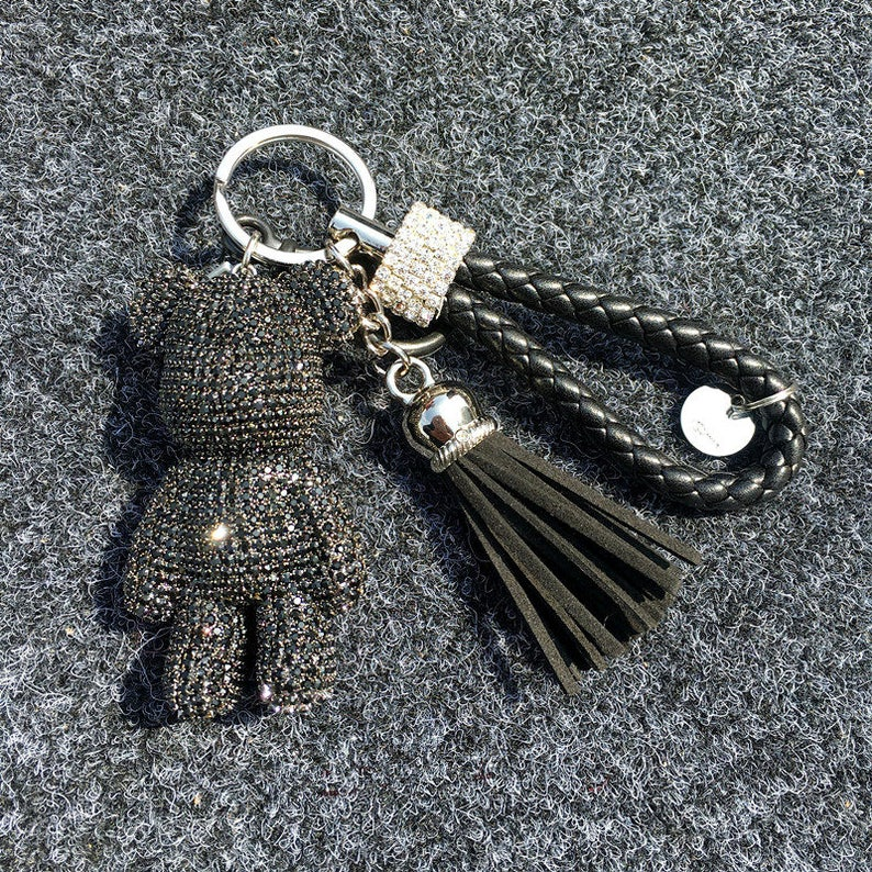 Teddy Bear Keychain Rhinestone Bear Pendants Leather Tassel  afbc3ae33