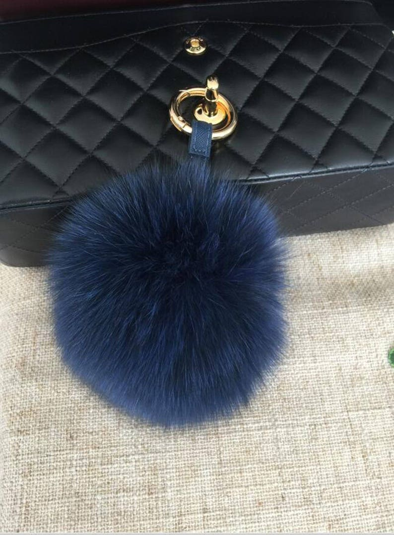 406d63674a Navy Blue Fox Fluffy Keychains Pompom Puffs Ball Keyring Purse