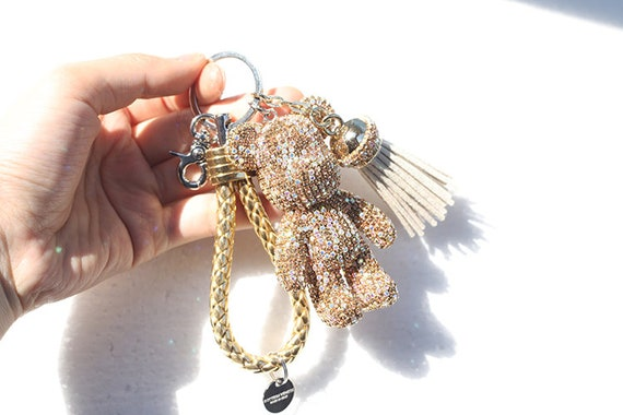 Kerry Made Sparkle Bear Keychain Champagne Bling Bear Tassel  eda9ce113e