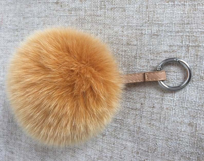 e3f853cde3 5 inch genuine fox fur keychains large pom poms purse charm