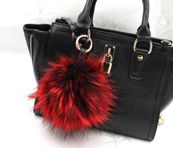 0257768b506 Big Furry Ball Bag Charm Plush Fluffy Keychains Large Fox   Etsy