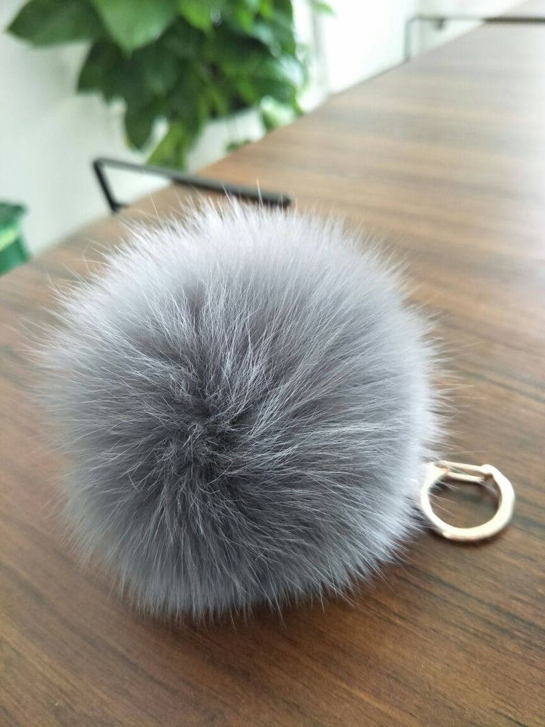 381be5453eb4 Cute fur ball bag charm puffs ball keychain light