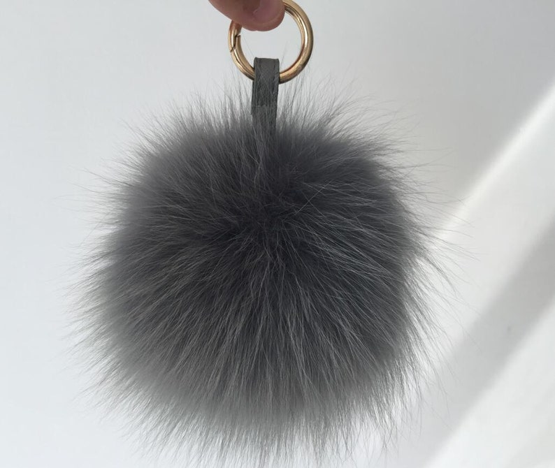 805b806c7e Fluffy Keychains Gray Pompom Puffs Ball Keyring Purse Charm