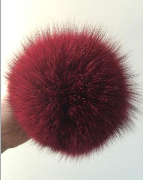 Large Burgundy Pom Pom Key chains Puffy Balls Keyring genuine  2e96cd2c3d71