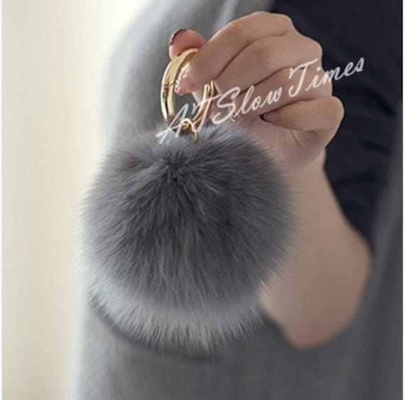 e8bda7d5a8a3 Real Fur Ball Bag charms Keychain Pom Pom Fluffy Ball Key
