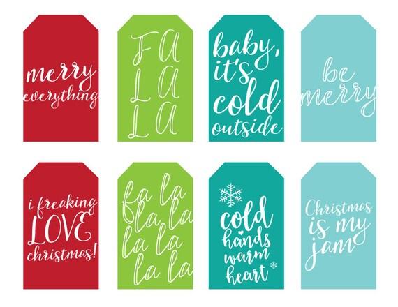 PRINTABLE Christmas Holiday Gift Tags Fun Sayings Holiday ...