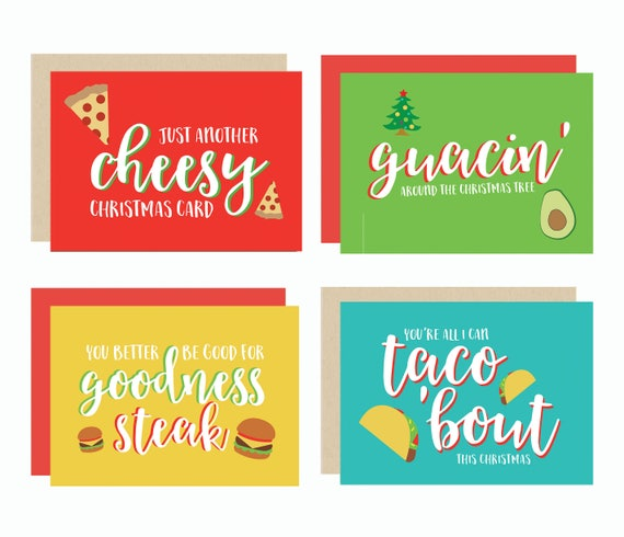 Christmas Pun.Food Pun Christmas Cards Set Of 4 Or 8 Pizza Avocado Guacamole Burgers Tacos Modern Cute Fun Funny 5x7